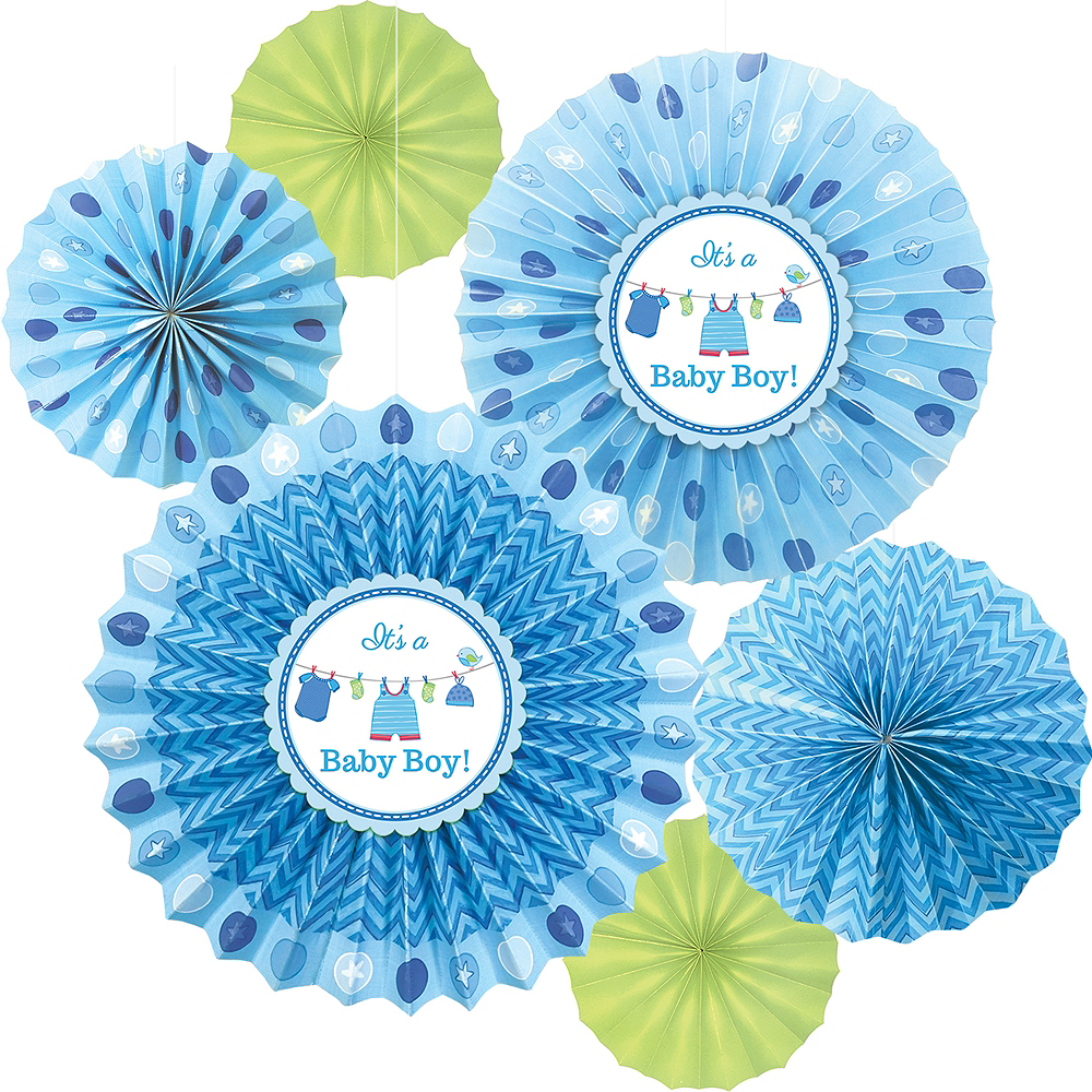 It's a Boy Baby Shower Paper Fan Decorations 6ct Image #1