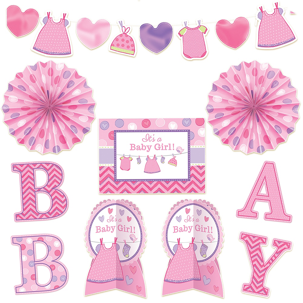It S A Girl Baby Shower Room Decorating Kit 10pc Party City
