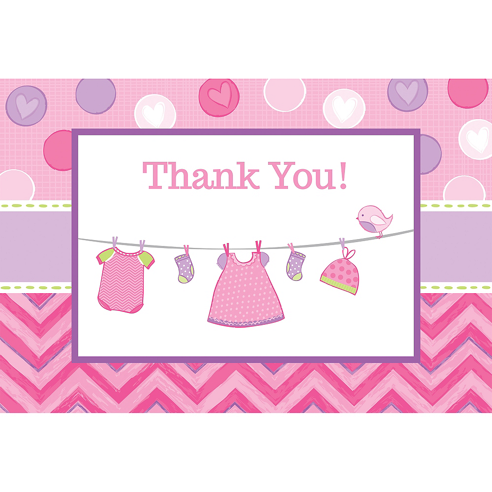 Its A Girl Baby Shower Thank You Notes 8ct Party City
