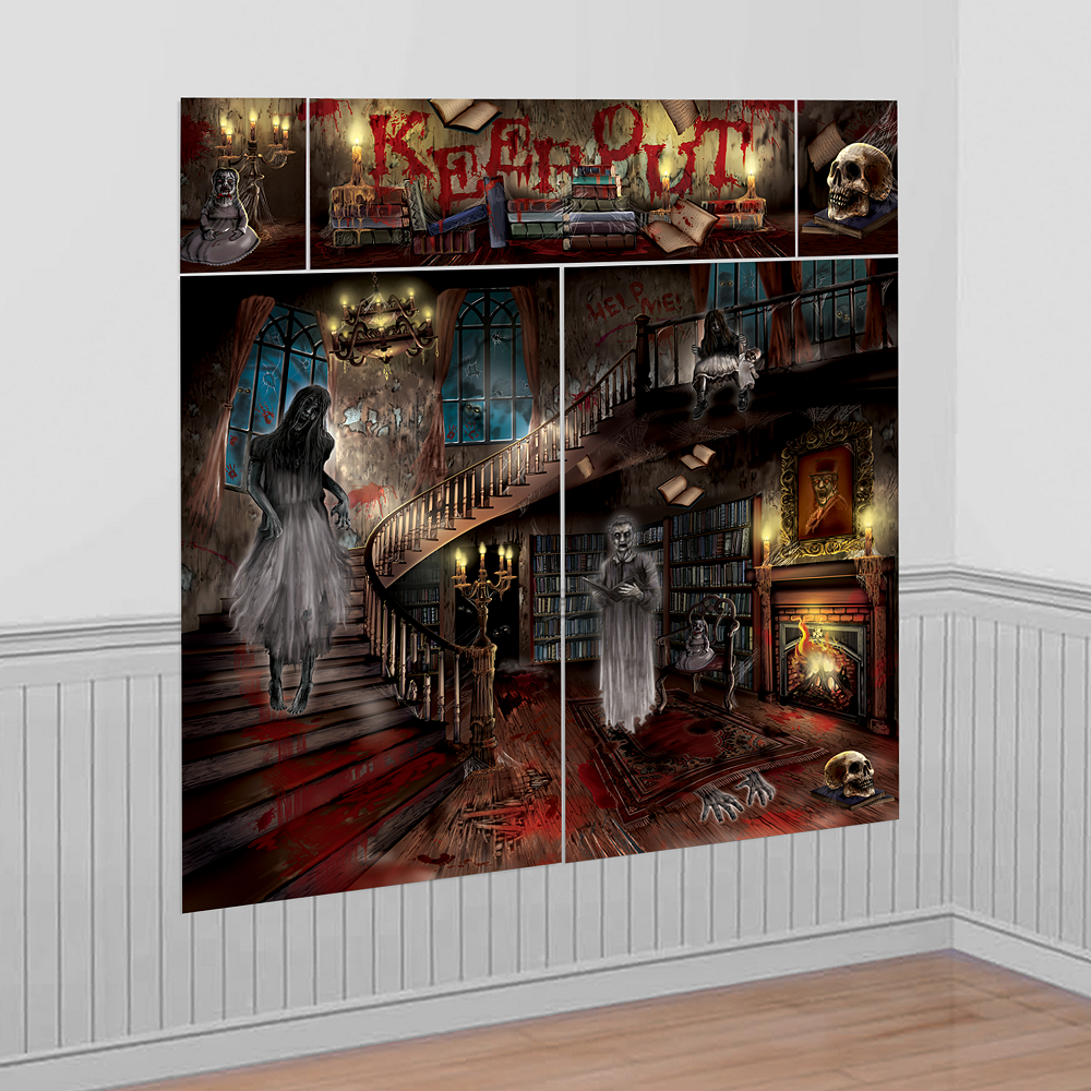 Halloween Haunted House Scene Setter LARGE Wall Poster Spooky Decoration Keep Ou