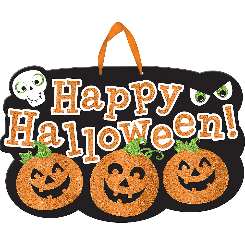 glitter friendly happy halloween sign 20in x 13in party city