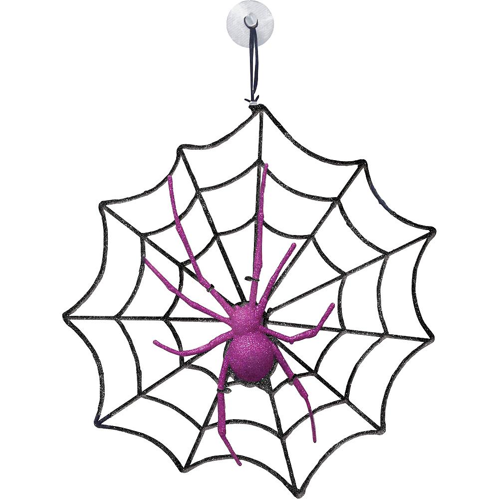 Glitter Spider & Web Decoration Image #1