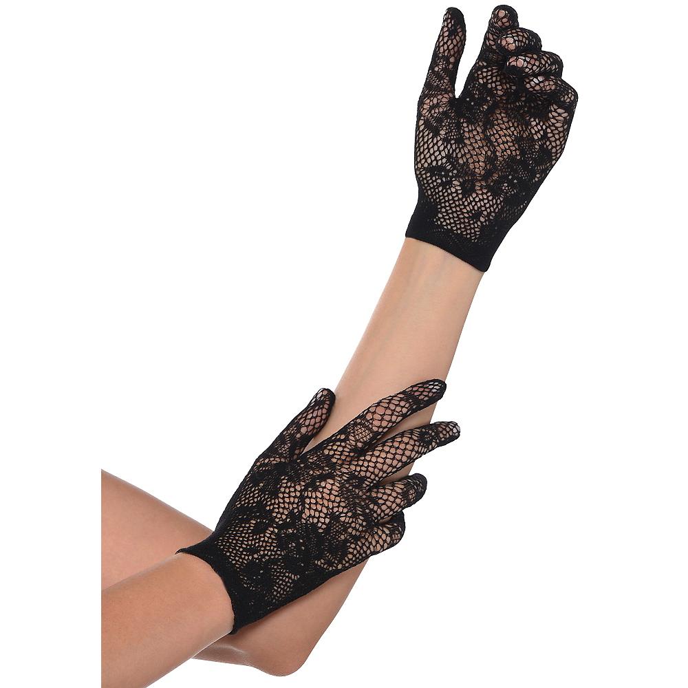 Black Floral Netting Gloves Image #1