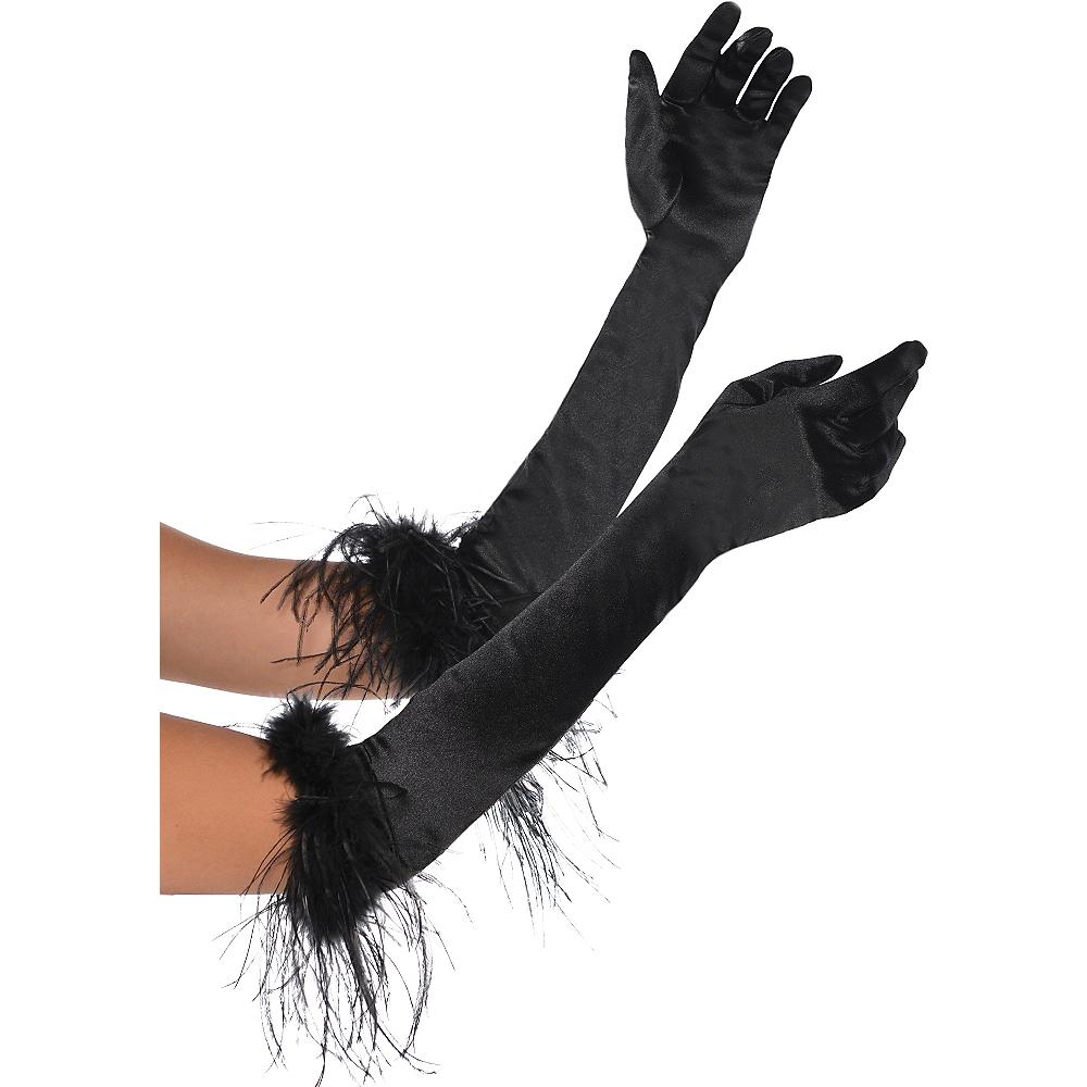 Black Feather Opera Gloves Image #1
