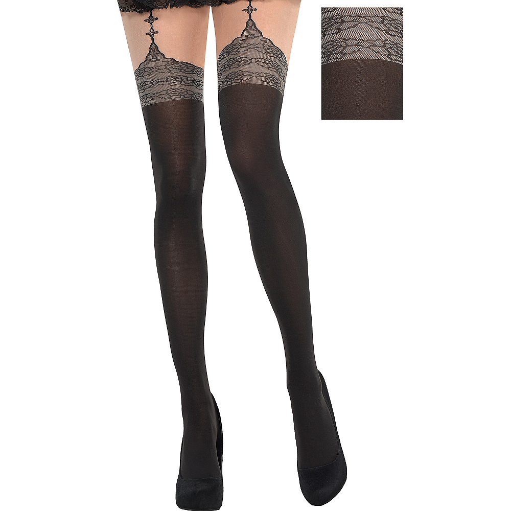 0a2ccadf0bf See All Thigh High Stockings. Black Lace Garter Stockings Image  1