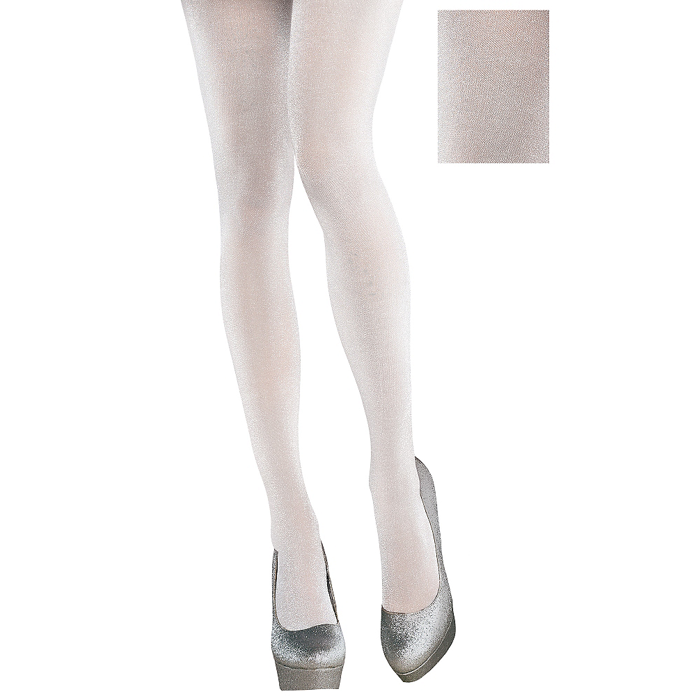White Shimmer Tights Image #1