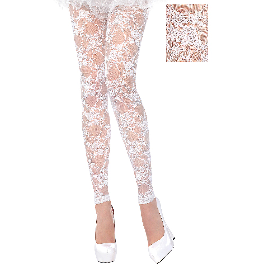 cfd77b416ce White Lace Footless Tights Image  1