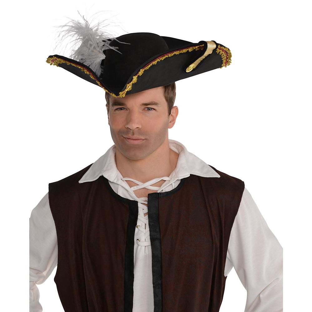 Black Pirate Captain Hat Image #2