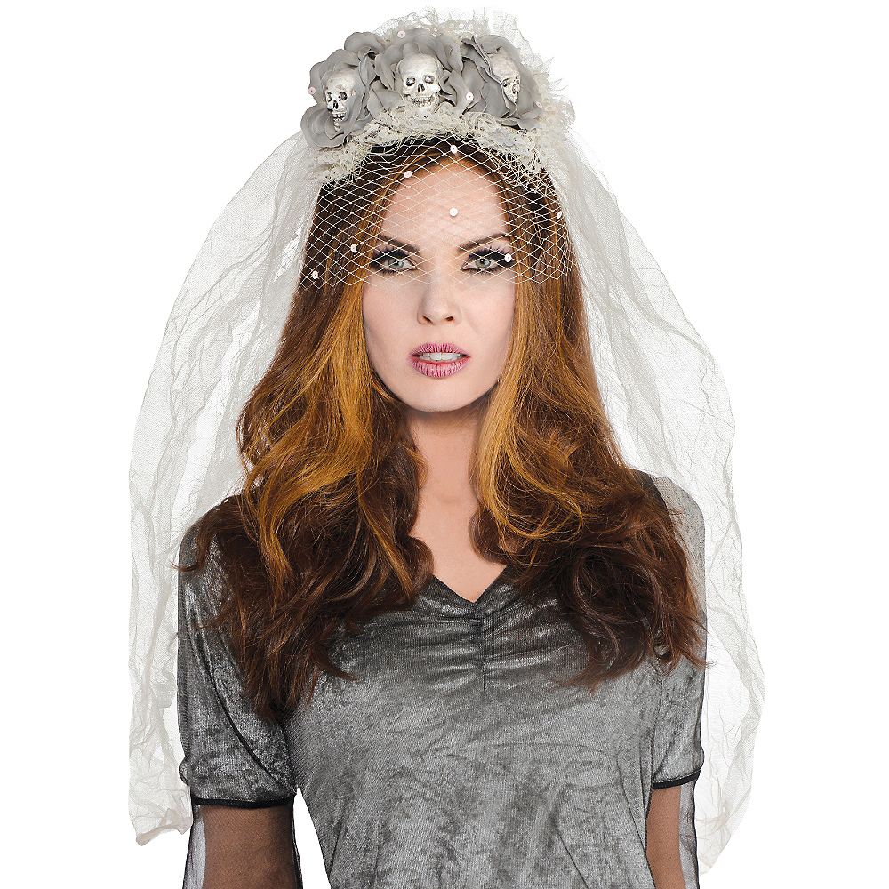 Ghost Bride Skull Veil Headband Couture Image #2