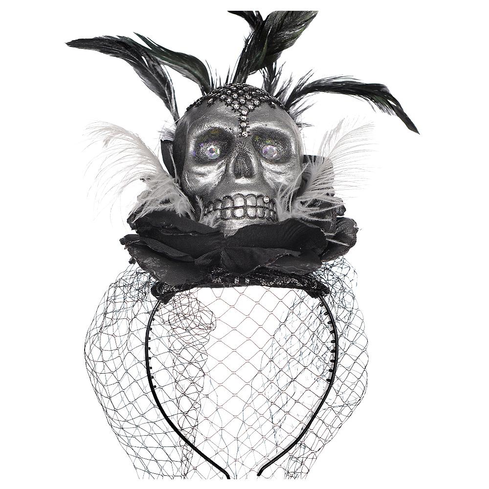 Skull Veil Headband Couture - Black & Bone Image #1