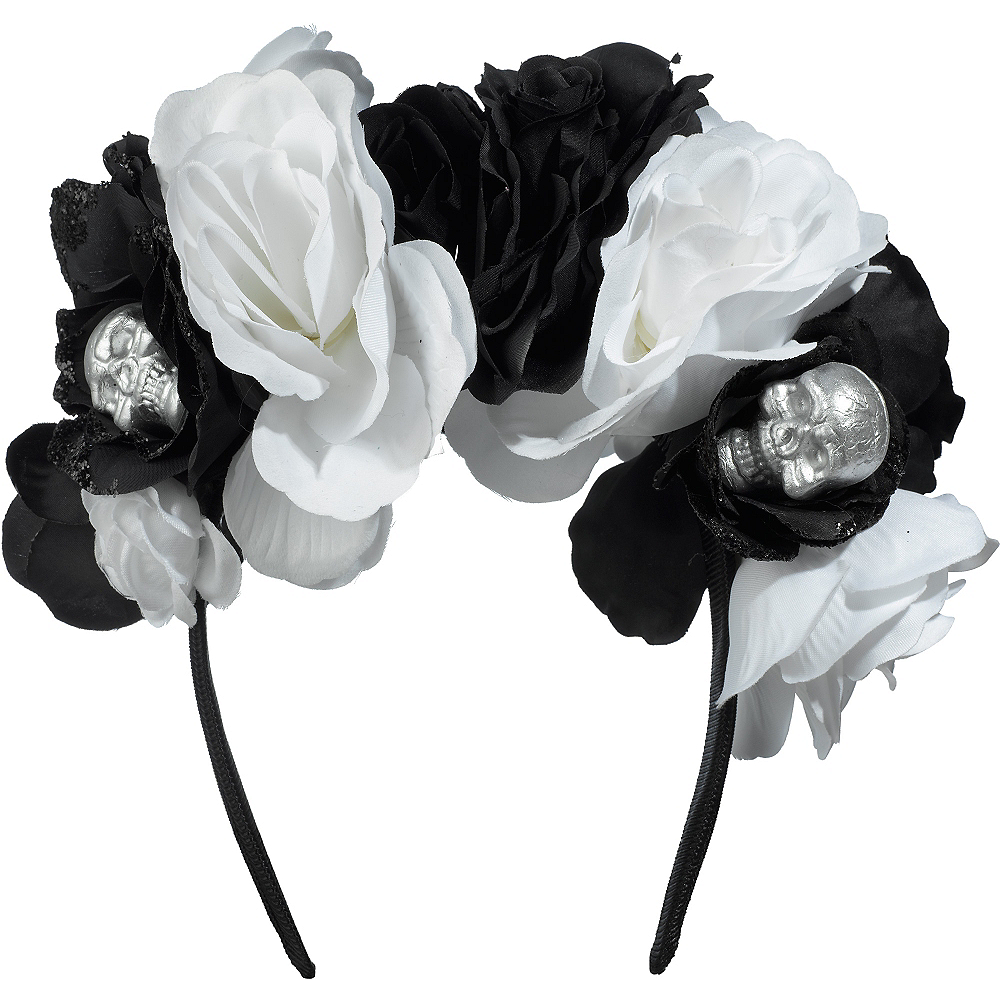 Skull Floral Headband Deluxe - Black & Bone Image #1