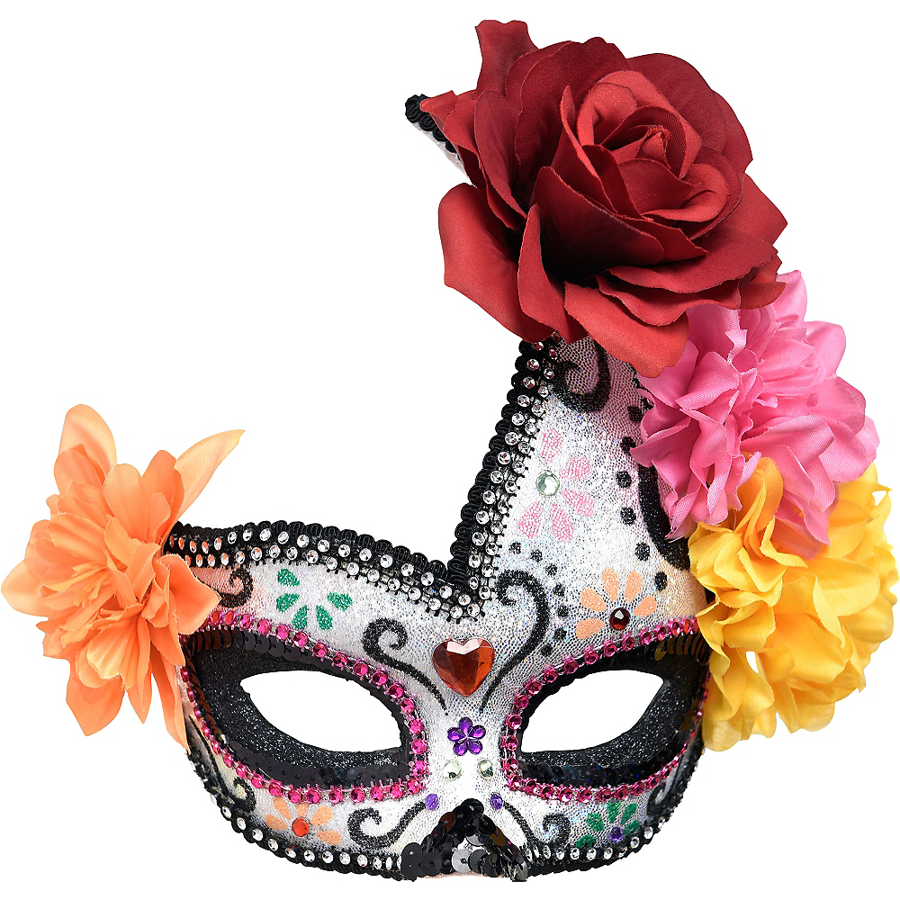 Floral Sugar Skull Masquerade Mask - Day of the Dead Image #1