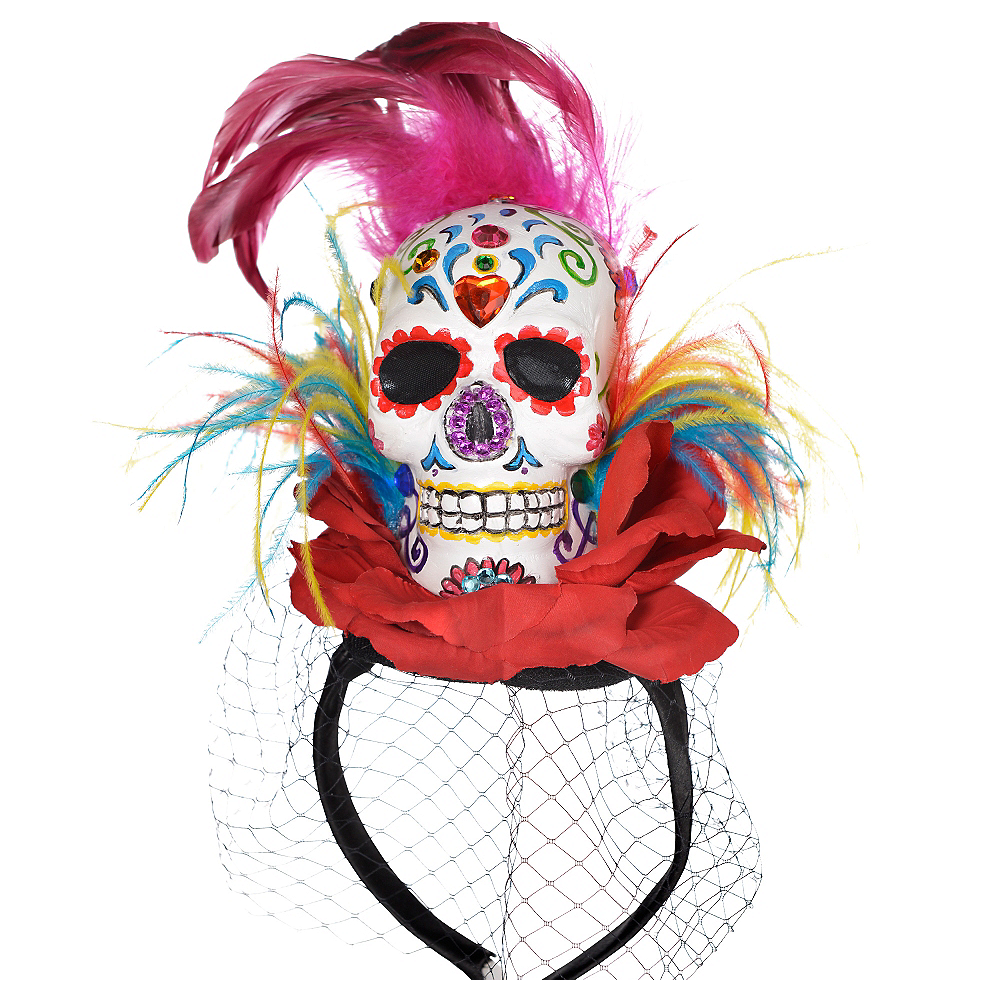 Sugar Skull Fascinator Headband Couture - Day of the Dead Image #1