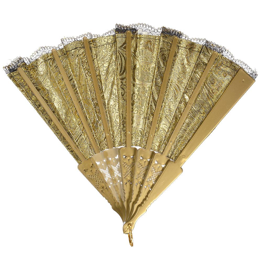Parisian Black & Gold Lace Fan Image #1