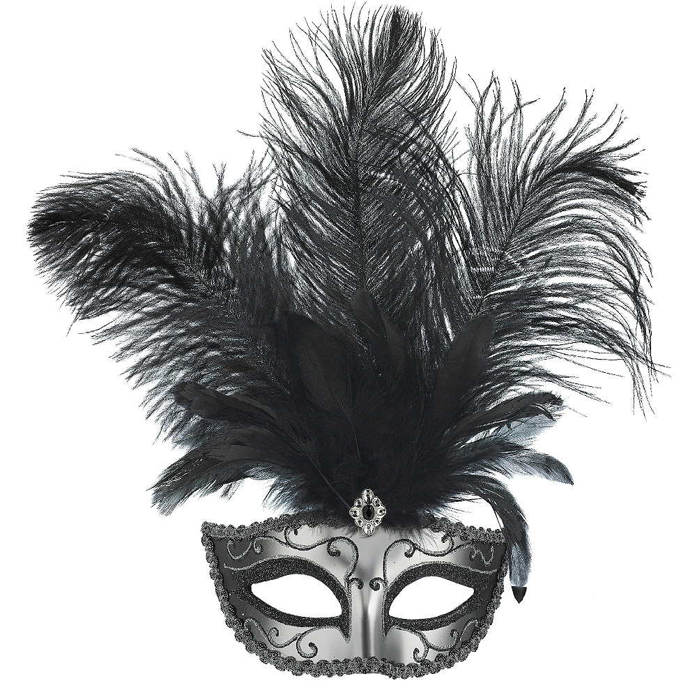 Silver Feather Dominance Masquerade Mask Image #1