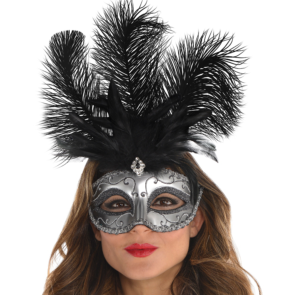 Silver Feather Dominance Masquerade Mask Image #2