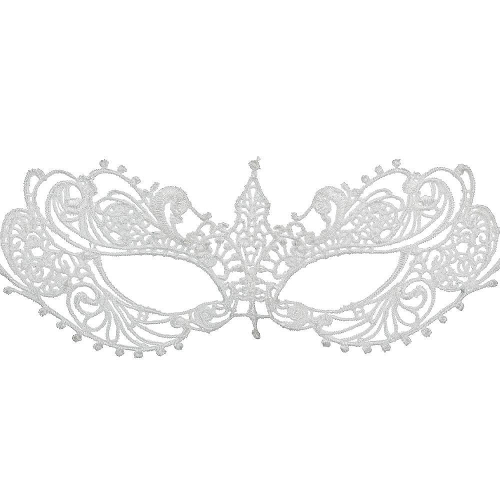 White Lace Masquerade Mask Image #1
