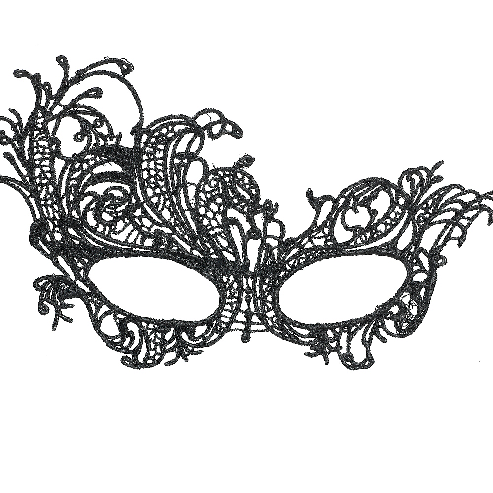 Black Lace Filigree Masquerade Mask Image #1