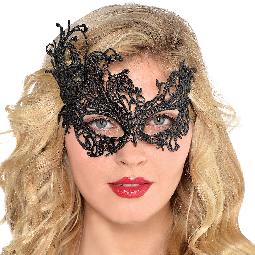 Black Lace Filigree Masquerade Mask Image #2
