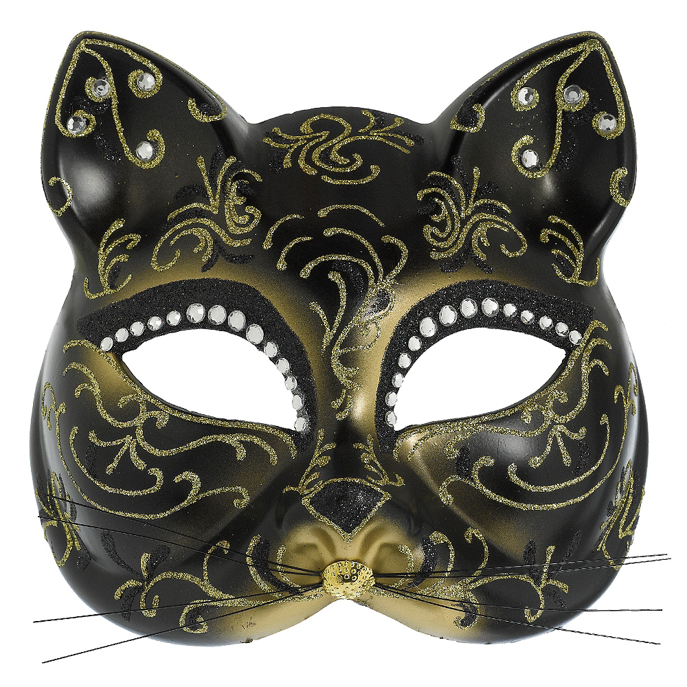 Glitter Gold Scroll Cat Mask Image #1