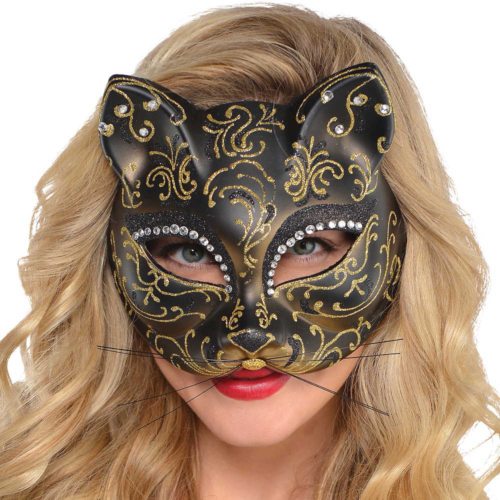 Glitter Gold Scroll Cat Mask Image #2