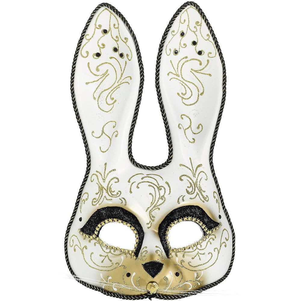 Glitter Gold Scroll Bunny Mask Image #1