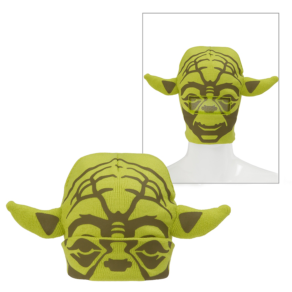 7d0a60c552637 Yoda Roll-Down Mask Beanie 14in x 9in - Star Wars