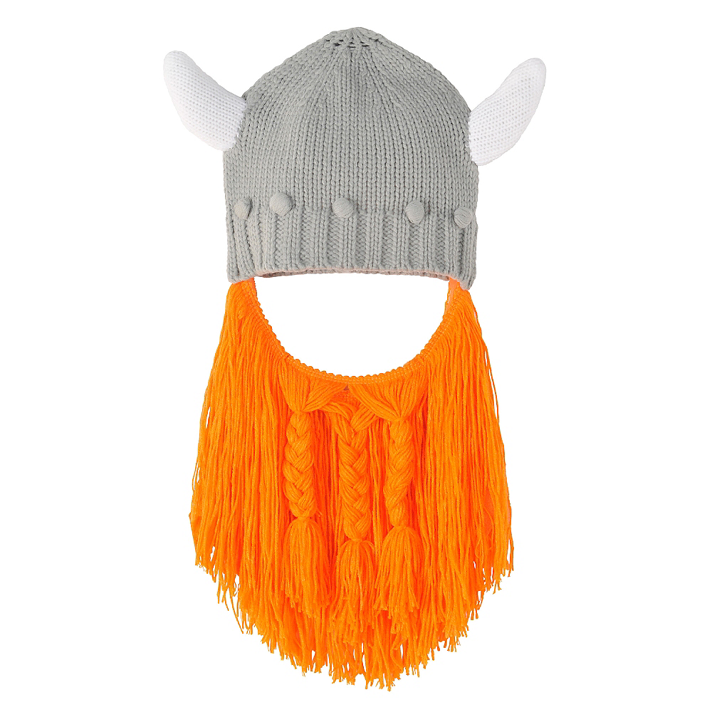 180a75f2008710 Viking Helmet Beanie with Beard 8 1/2in x 8in | Party City