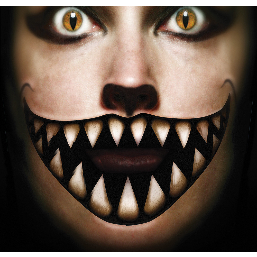 Big Mouth Cheshire Face Tattoo- Tinsley Transfers Image #1