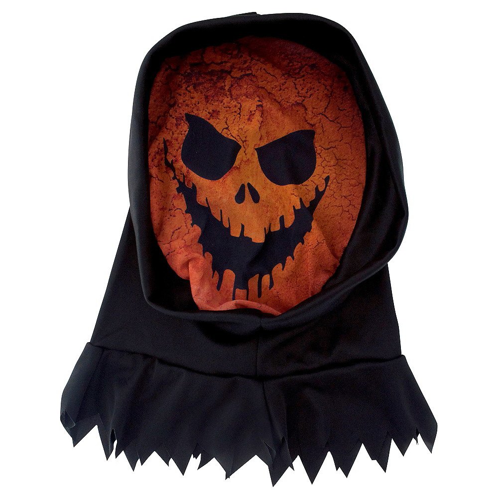 Nav Item for Hooded Scary Jack-o'-Lantern Mask Image #1
