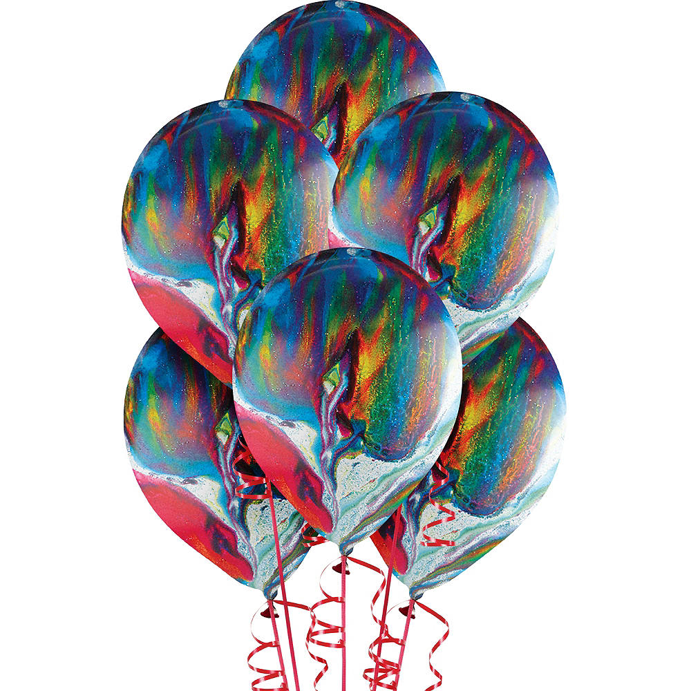 Rainbow Marble Balloons 15ct, 12in Image #1