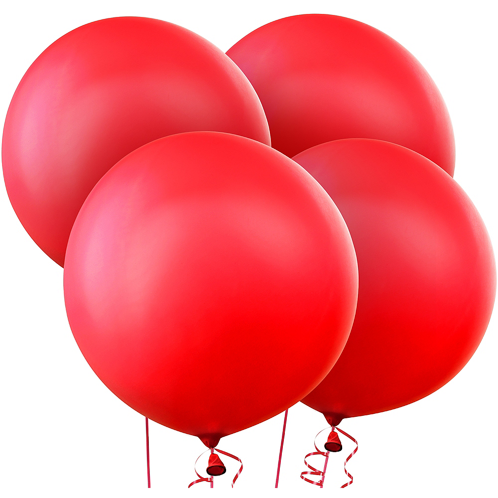 Red Balloons 4ct, 24in Image #1