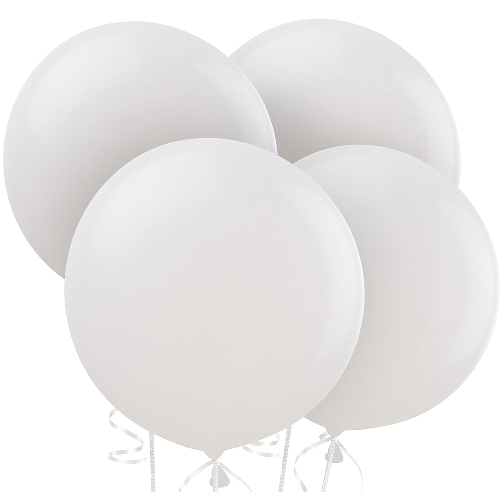 White Balloons 4ct, 24in Image #1