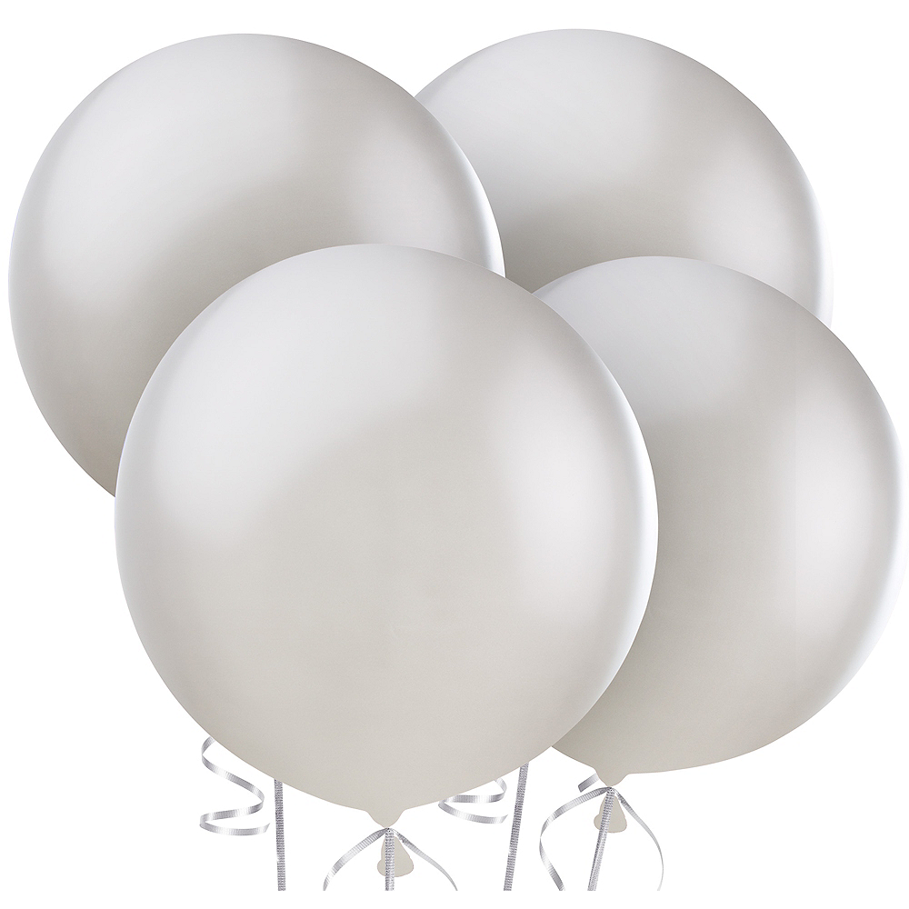Silver Pearl Balloons 4ct, 24in Image #1
