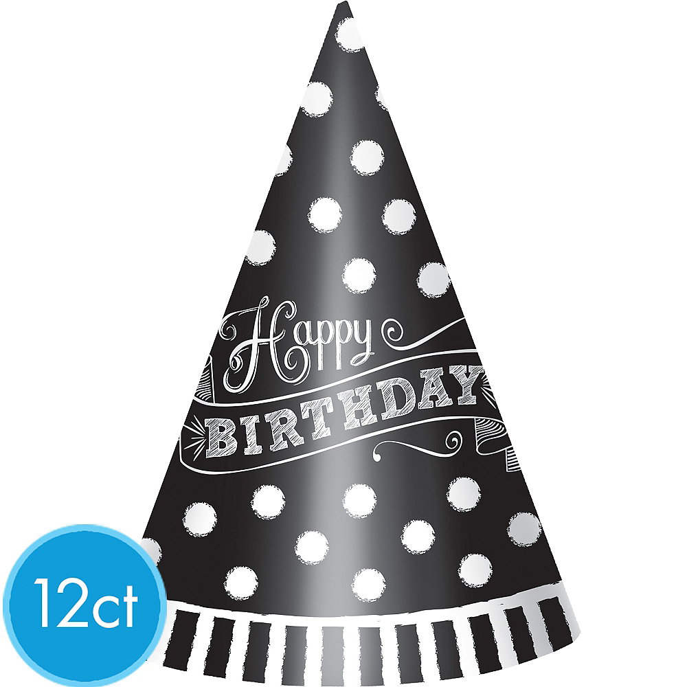Black White Happy Birthday Party Hats 12ct Image 1