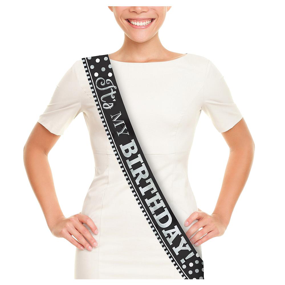 Metallic Black White Birthday Sash Image 1
