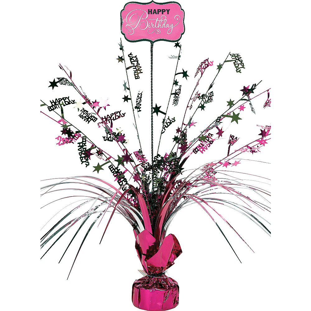 Happy Birthday Weighted Centrepiece Perfectly Pink Party
