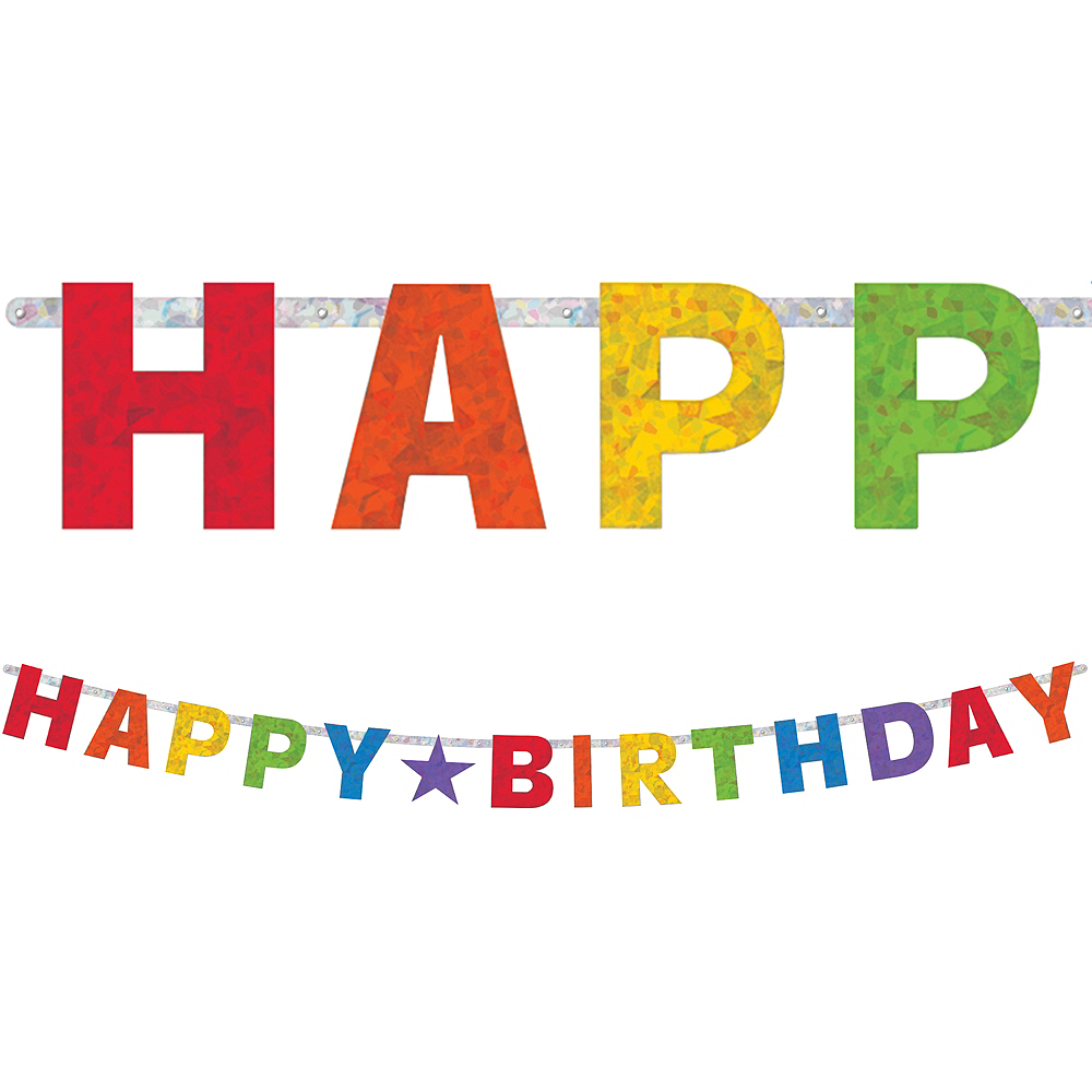 prismatic rainbow happy birthday letter banner image 1