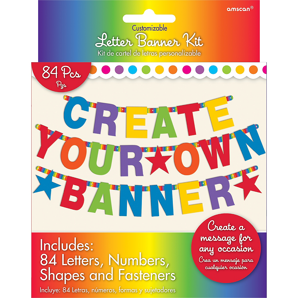 rainbow letter banner kit 84pc party city