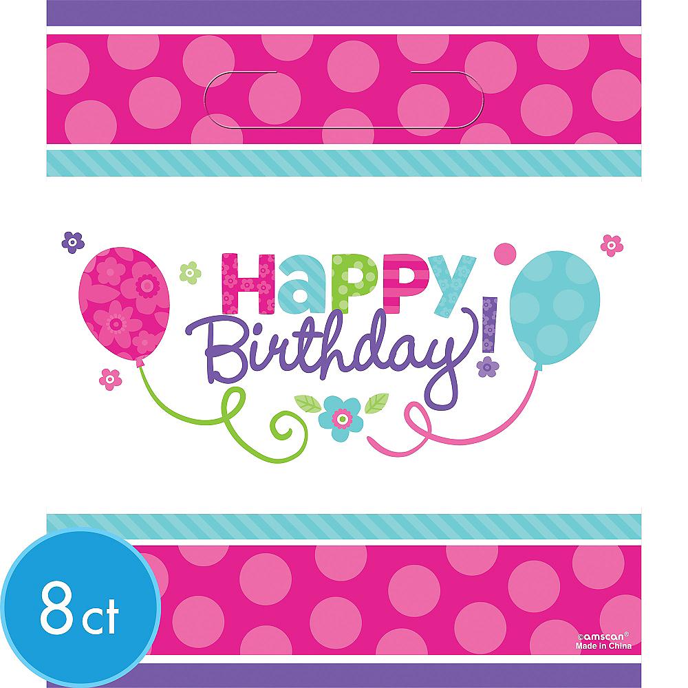Purple & Teal Pastel Birthday Favor Bags 8ct