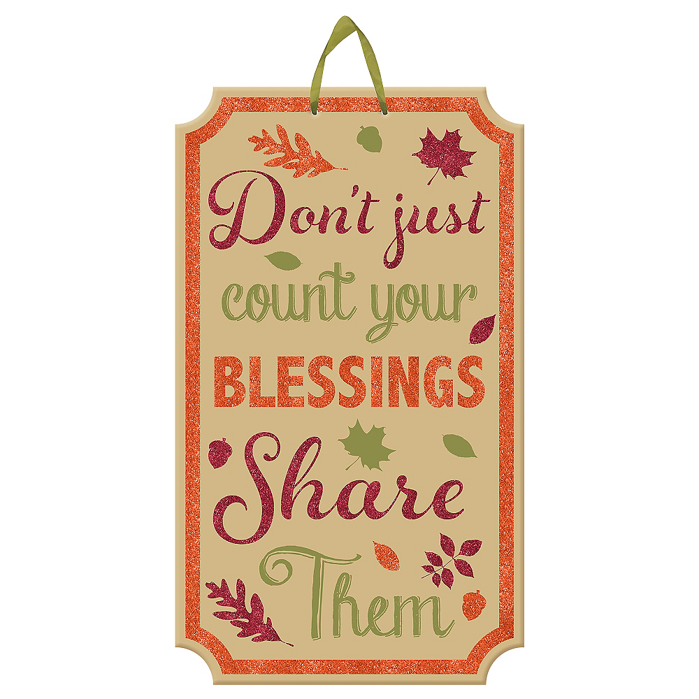 Glitter Count Your Blessings Fall Sign 11 1/2in x 20in   Party City
