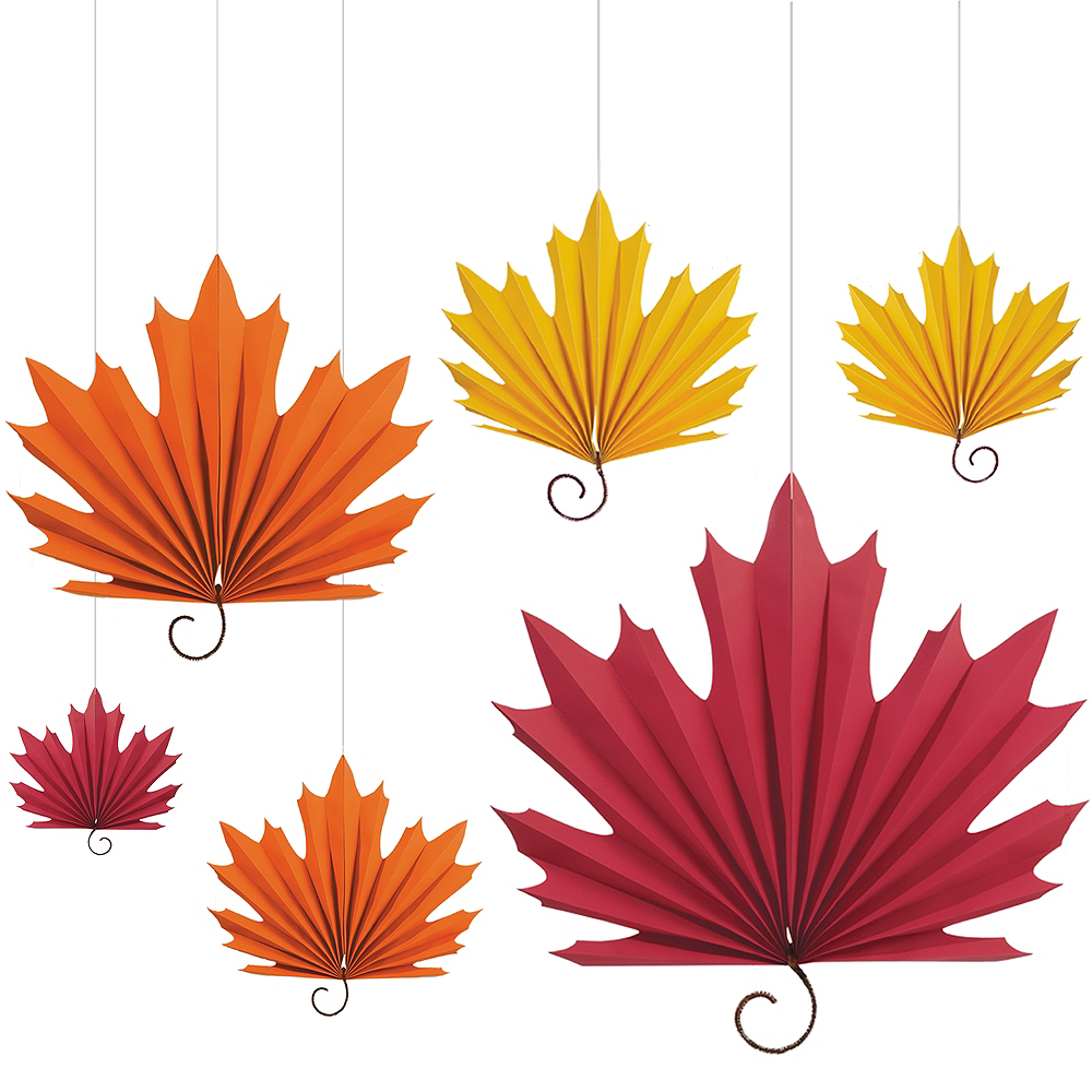 fall leaf paper fan decorations 6ct party city