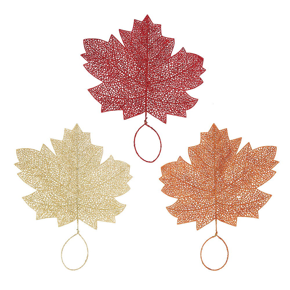 Glitter Fall Maple Leaves 3ct Image #1