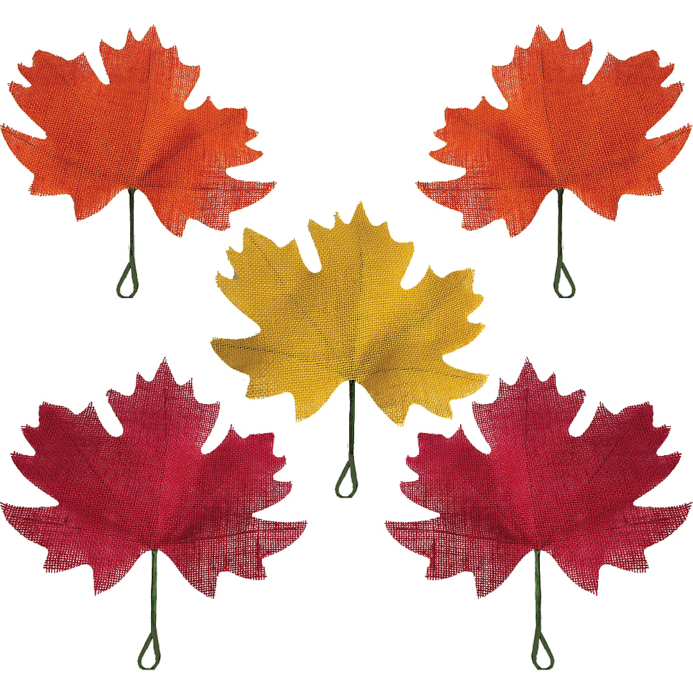 Burlap Fall Maple Leaves 5ct Image #1