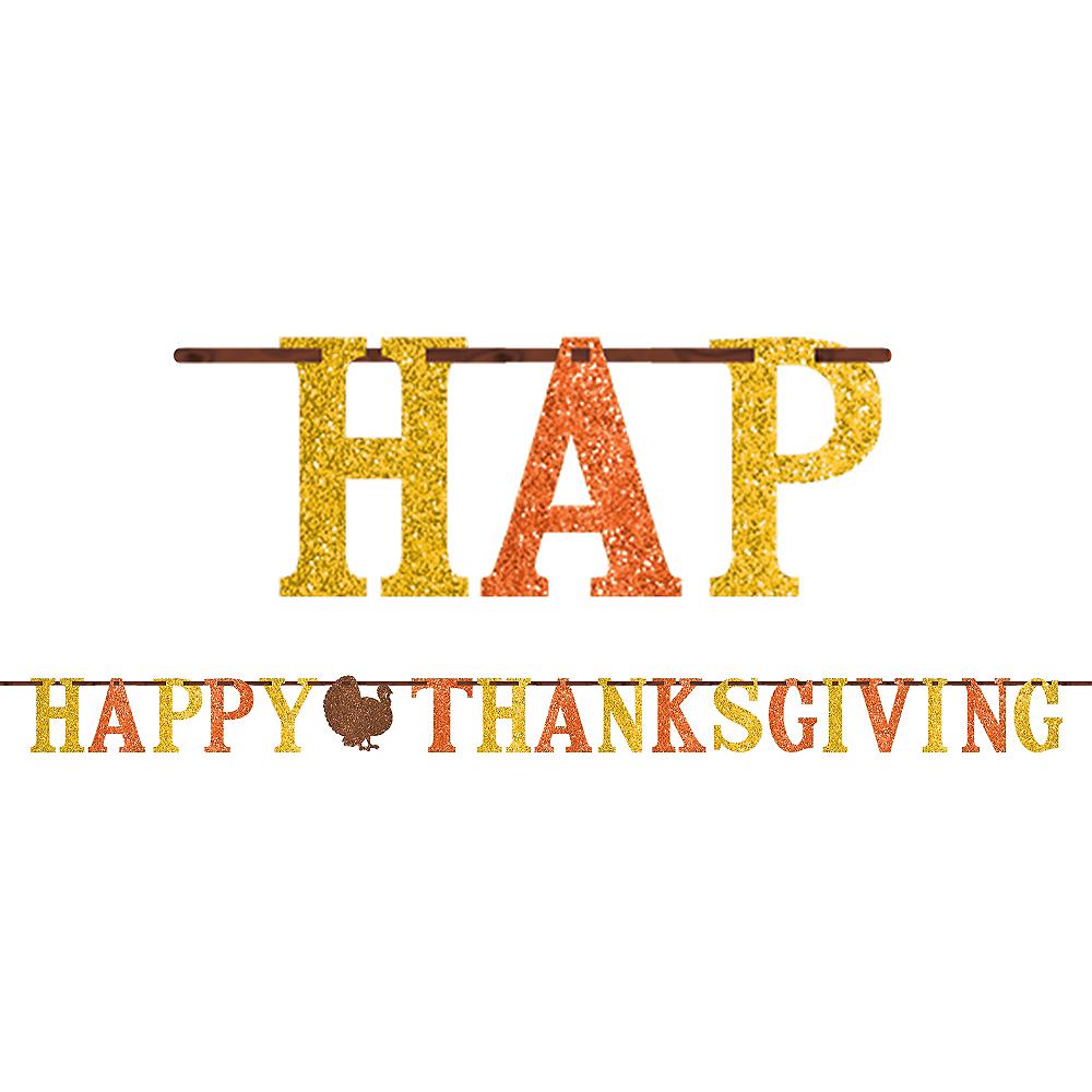 Glitter Happy Thanksgiving Letter Banner 12ft Image #1