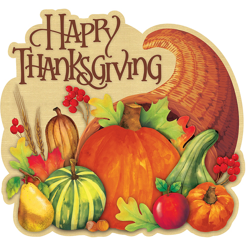 Happy Thanksgiving Cornucopia Cutout 15in X 14in