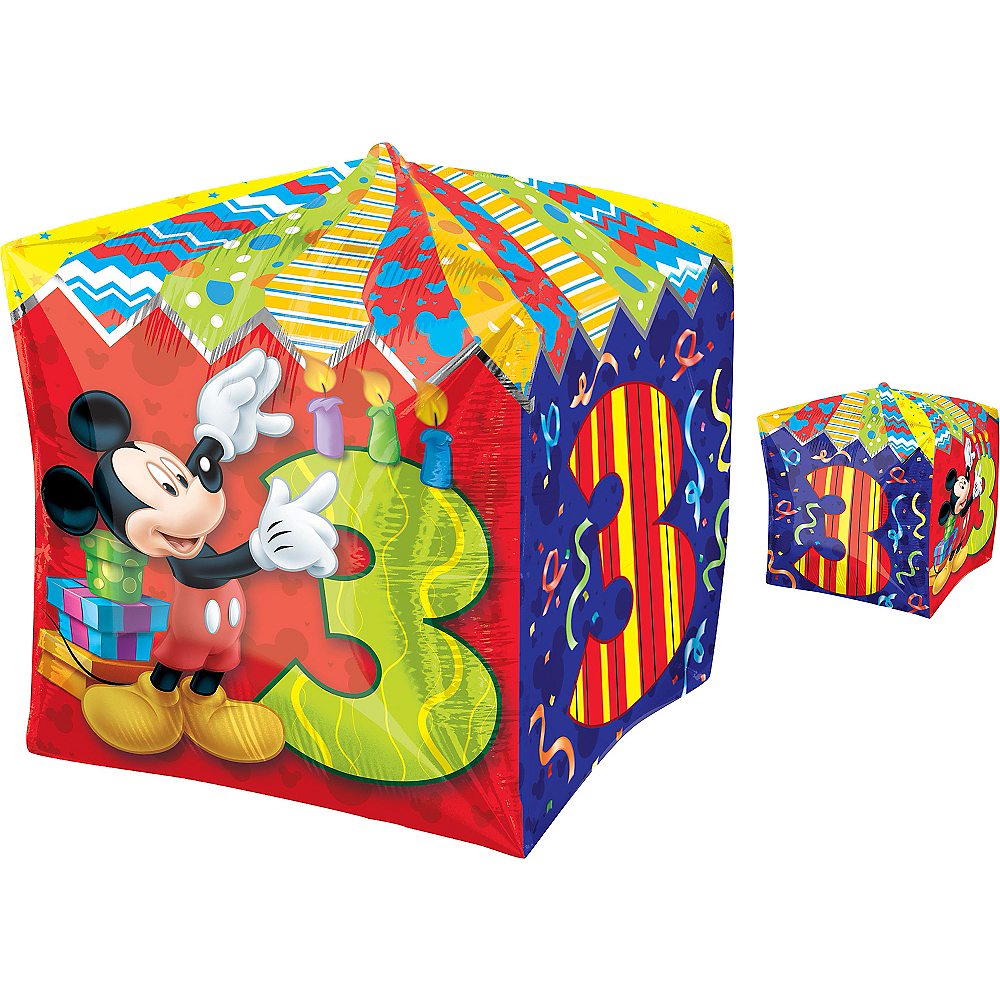 3rd Birthday Mickey Mouse Balloon - Cubez, 16in Image #1