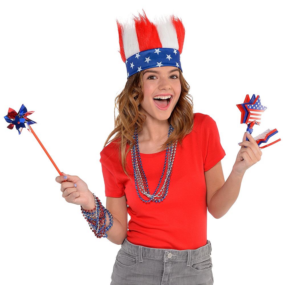 Patriotic Red, White & Blue Crazy Hair Headband Image #2