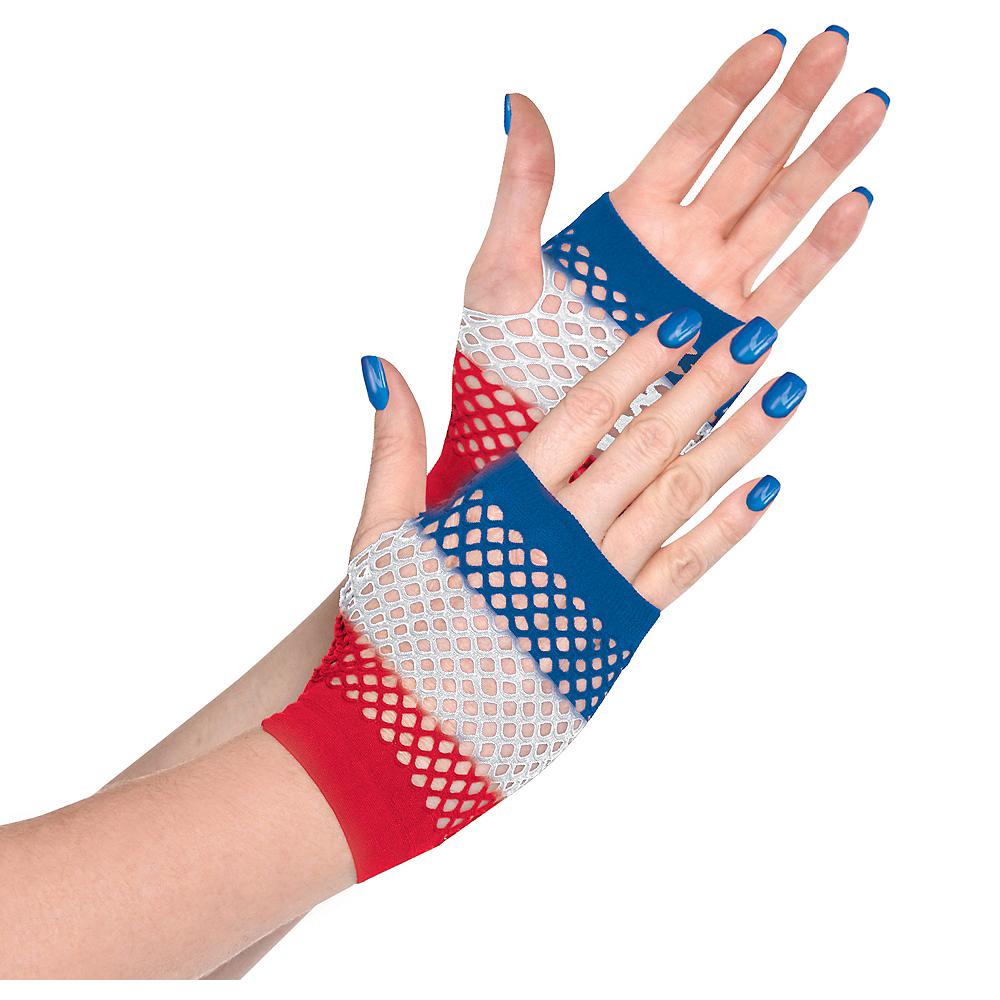 Red, White & Blue Fishnet Glovelettes Image #1