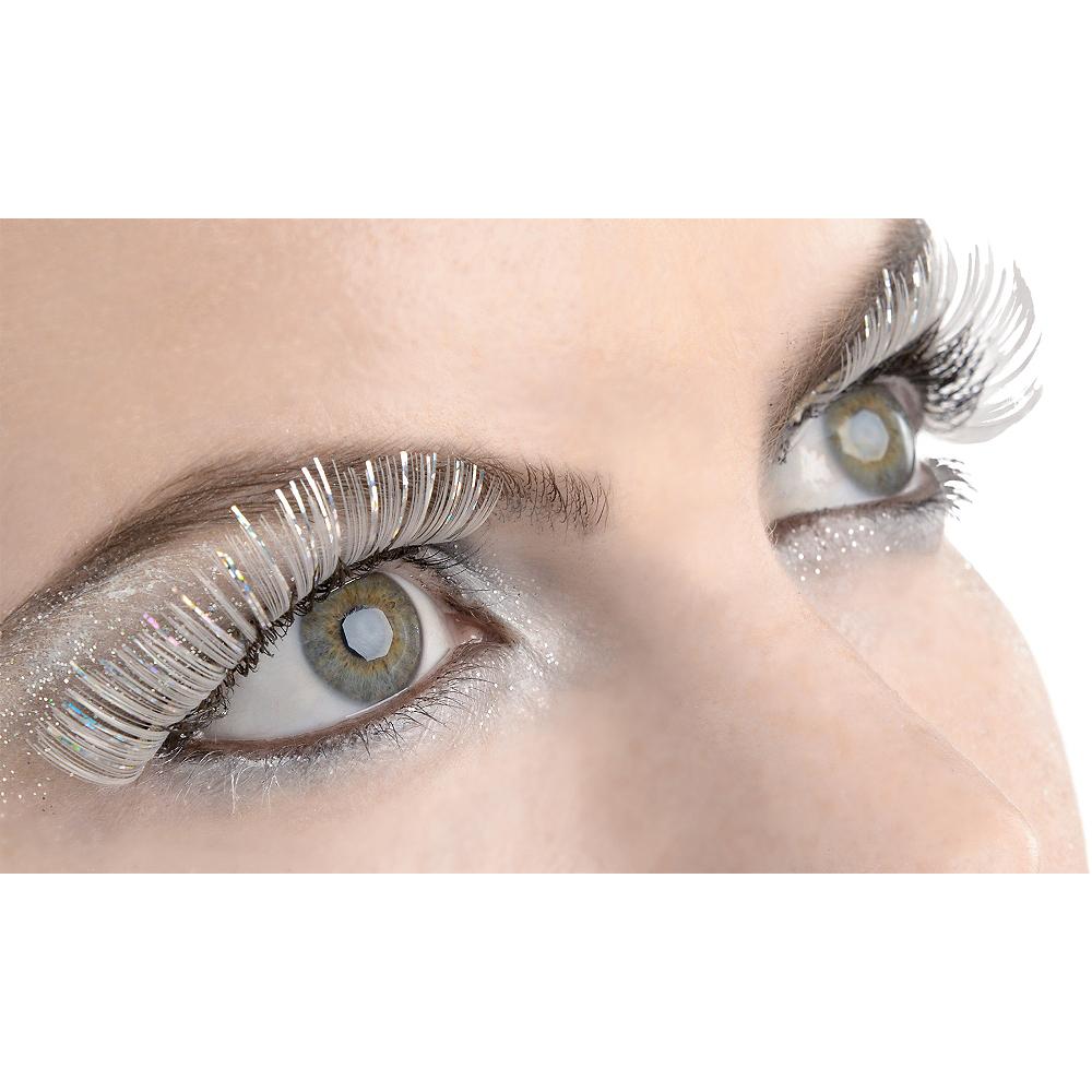 Self-Adhesive White Tinsel False Eyelashes Image #1